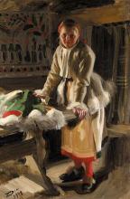 Zorn, Ragazza di Mora in abito invernale | Morakulla i vinterdräkt | A girl from Mora in winter dress