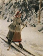 Zorn, Ragazza di Mora sugli sci | Moraflicka på skidor | Girl from Mora on skis