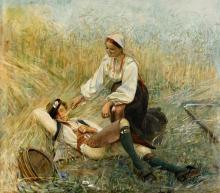 Zorn, Ragazza di Orsa fa il solletico a un ragazzo con una pagliuzza | Orsakulla kittlar gosse med ett halmstrå | Girl of Orsa tickle a boy with a straw