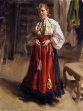 Zorn, Ragazza di Orsa in abito della festa   Orsakulla i högtidsdräkt   Girl in Orsa costume   Fille de Orsa en robe de fête