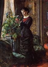 Zorn, Ritratto della signora Lisen Samson, nata Hirsch, che sistema fiori davanti a una finestra | Portrait of Mrs. Lisen Samson, née Hirsch, arranging flowers at a window