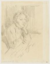 Zorn, Ritratto di donna appoggiata su un tavolo, tre quarti a destra | Portrait de femme appuyée à une table, de trois quarts à droite