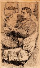 Zorn, Ritratto di un uomo che legge in una stanza   Portrait of a man reading in a den