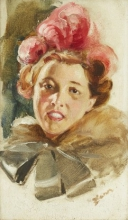 Zorn, Ritratto di una giovane donna con cappello e fiocco   Porträtt av en ung dam med röd hatt och rosett   Portrait of a young lady with red hat and bow