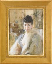 Zorn, Ritratto di una signora in un salotto   Portrait of a lady in a drawing room