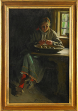 Zorn, Sbucciatura delle patate. Interno con ragazza   Skala potatis. Interiör med kulla   Interior with girl peeling potatoes