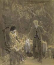 Zorn, Scena d'interno con uomo e donna a tavola   Interiör med man och kvinna vid bord   Interior scene with man and woman at table