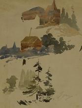 Zorn, Schizzo di paesaggio   Landskapsskisser   Landscape sketch