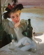 Zorn, Signora al caffè, isola di Seguin | Dam vid cafè, isle de Seguin | Lady in a café, isle de Seguin
