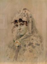 Zorn, Spagnola in mantiglia di pizzo bianca | Spanjorska med vit spetsmantilj | Spanish woman with a white lace mantilla