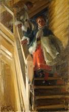 Zorn, Sulla scala della soffitta | I loftstrappan | On the loft staircase