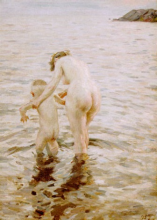 Zorn, Una prima | Une première | Mother and child padding in sea