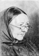 Zorn, Vecchietta grinzosa con occhiali e scialletto   Gammal gumma i glasögon och schalett   Wrinkled old woman with glasses and shawl