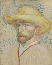 van Gogh, Autoritratto con cappello di paglia | Zelfportret met strohoed | Autoportrait au chapeau de paille | Self-portrait with straw hat