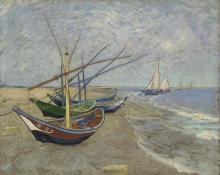 van Gogh, Barche da pesca sulla spiaggia di Les Saintes Maries de la Mer | Vissersboten op het strand van Les Saintes-Maries-de-la-Mer | Bateaux de pêche sur la plage des Saintes-Maries-de-la-Mer | Fishing boats on the beach at Les Saintes-Maries-de-la-Mer