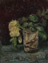 van Gogh, Bicchiere con rose gialle | Glas met gele rozen | Verre avec roses jaunes | Glass with yellow roses