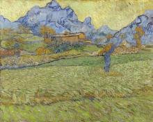 van Gogh, Campi di grano in un paesaggio montano | Korenvelden voor berglandschap | Champs de blé dans un paysage de montagne | Wheat fields in a mountainous landscape