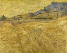 van Gogh, Campo di grano con falciatore e sole | Korenveld met maaier en zon | Champ de blé avec faucheur et soleil | Wheat field with reaper and sun