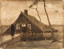 van Gogh, Capanna di zolle (Capanno di torba di sera) | Plaggenhut (Veenkeet bij avond) | Sod hut (Peat shed at night)
