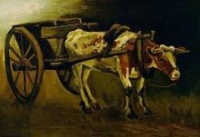 van Gogh, Carretto tirato da un bue | Ossenkar | Chariot tiré par un bœuf | Oxcart