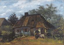 van Gogh, Casolare a Nuenen | Bauernhaus in Nuenen | Chaumière à Nuenen | Thatched cottage in Nuenen