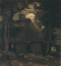 van Gogh, Casolare con alberi e contadina | Cottage with trees and peasant woman