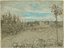 van Gogh, Casolari con donna al lavoro in secondo piano | Chaumières avec une femme travaillant en second plan | Cottages with a woman working in the middle ground