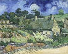 van Gogh, Casolari con tetto di paglia a Cordeville, Auvers sur Oise | Chaumes de Cordeville à Auvers-sur-Oise | Thatched cottages at Cordeville, Auvers-sur-Oise