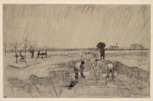 van Gogh, Cimitero sotto la pioggia | Friedhof im Regen | Cimetière sous la pluie | Cemetery in the rain