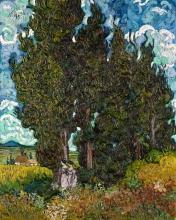van Gogh, Cipressi con due figure | Cipressen met twee figuren | Cyprès avec deux figures | Cypresses with two figures