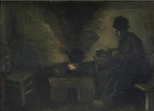 van Gogh, Contadina accanto al focolare   Paysanne près de l'âtre  