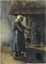 van Gogh, Contadina al focolare | Paysanne au âtre | Bäuerin am Herd | Peasant woman at the hearth-fire