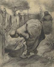 van Gogh, Contadina al lavatoio in un giardino | Paysanne au bassin dans un jardin | Peasant woman at the wash-tub in a garden