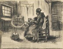 van Gogh, Contadina che avvolge il filo   Paysanne enroulant le fil   Peasant woman reeling yarn