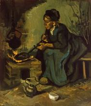 van Gogh, Contadina che cucina accanto al focolare | Paysanne cuisinant près d'un âtre | Peasant woman cooking by a hearth