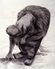 Vincent van Gogh, Contadina che estirpa erba   Paysanne arrachant de l'herbe   Ährenleserin   Peasant woman plucking grass