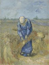 van Gogh, Contadina che lega covoni (da Millet) | De schovenbindster (naar Millet) | Paysanne liant des gerbes (d'après Millet) | Peasant woman binding sheaves (after Millet)