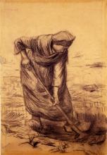 van Gogh, Contadina che vanga   Spittende boerin   Paysanne bêchant   Peasant woman digging