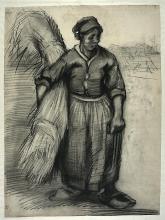 van Gogh, Contadina con un fascio di grano | Bondekone med nek | Paysanne portant une gerbe | Peasant woman carrying a sheaf of grain, seen from the front