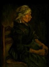 van Gogh, Contadina del Brabante, seduta, vista di profilo   Brabantse boerin, zittend, en profil gezien   Paysan du Brabant, assise, vue de profil   Brabant peasant, sitting, profile view