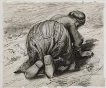 van Gogh, Contadina in ginocchio vista di spalle | Knielende boerin | Paysanne creusant le sol | Bondekone som ligger på alle fire | Peasant woman, kneeling, seen from behind