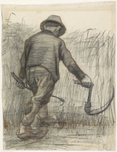 van Gogh, Contadino con falce, visto da dietro | Korensnijder met hoed, van achteren gezien | Paysan avec faucille, vu du dos | Peasant with sickle, seen from the back
