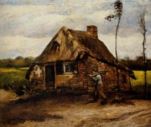van Gogh, Contadino davanti a una capanna | Paysan devant une chaumière | Peasant man in front of a thatched cottage