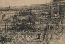 van Gogh, Cortili con due figure   Cours avec deux figures   Back yards with two figures