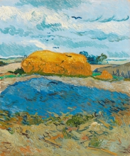 van Gogh, Bica di grano sotto un cielo nuvoloso | Korenschelf onder wolkenlucht | Meule de blé sous un ciel nuageux | Wheat stack under a cloudy sky