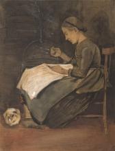 van Gogh, Donna che cuce e gatto | Naaiende vrouw en kat | Femme cousant et chat | Woman sewing and cat