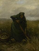 van Gogh, Donna che raccoglie patate   Aardappelrooister   Paysannes déterrant pommes de terre   Woman digging up potatoes
