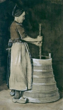 van Gogh, Donna che sbatte il latte per fare il burro | Karnende vrouw | Woman churning
