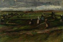 van Gogh, Donne che rammendano reti tra le dune |  Women mending nets in the dunes
