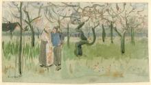 van Gogh, Frutteto in fiore con coppia: primavera | Bloeiende boomgaard met paartje: lente | Verger en fleur avec couple: printemps | Orchard in blossom with two figures: spring